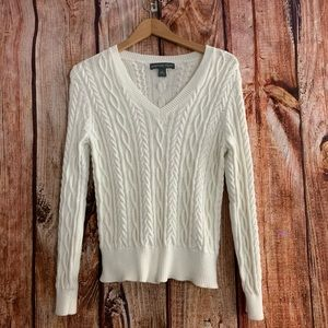 Josephine aChaus White Cable Knit -Neck Sweater M
